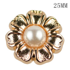 25MM High quality metal pearl Sun flower silver gold plated snap charms fit 20mm snap jewelry