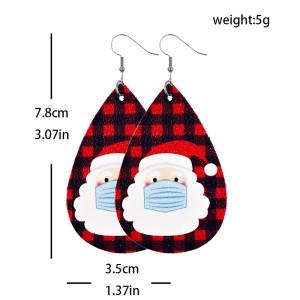 Christmas Snowflake Santa Claus Elk Christmas Tree Candy Leather Earrings