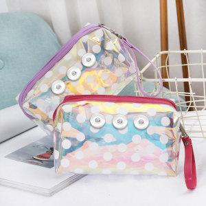 TPU cosmetic bag portable zipper key bag cartoon dot square bag fit 18mm chunks