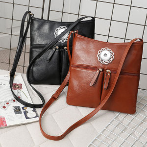 Simple fashion large capacity single shoulder bag messenger bag soft leather all-match casual fit 18mm chunks