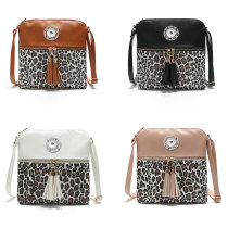 Women's bags hit color leopard print tassel bag ladies shoulder messenger double tassel pendant bag fit 18mm chunks