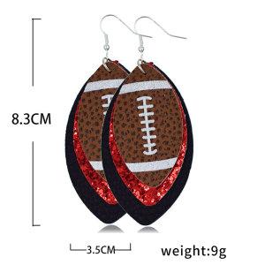 Boucles d'oreilles en cuir rugby double pont