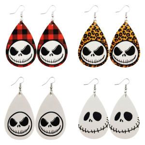 Boucles d'oreilles en cuir fantôme crâne d'Halloween