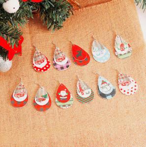 Christmas Snowflake Santa Claus  Christmas Tree Candy Leather Earrings