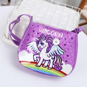 New Unicorn Children's Unicorn Shoulder Messenger Bag Korean Children's Cartoon Kindergarten Backpack fit 18mm chunks