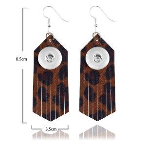 Boucles d'oreilles en cuir de couleur vive avec pompon léopard pour des morceaux de 18 mm