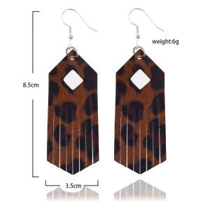 Boucles d'oreilles en cuir couleur vive pompon léopard