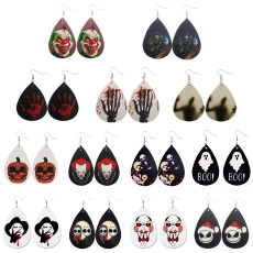 Halloween pumpkin skull ghost Leather Earrings