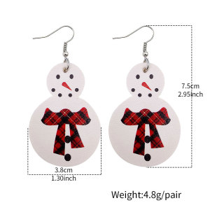 Christmas snowman Leather Earrings