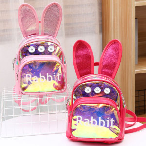 New transparent backpack women fashion laser leisure small backpack cartoon colorful student bag fit 18mm chunks