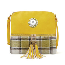 Fashion bag plaid cotton plaid stitching female bag double tassel diagonal shoulder bag fit 18mm chunks