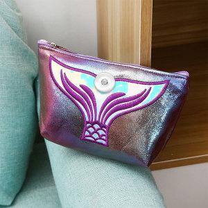 New cartoon cosmetic bag ladies pu hand storage bag ins fishtail travel waterproof cosmetic bag wash bag fit 18mm chunks