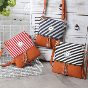 New style handbag canvas stitching PU striped shoulder messenger bag European and American simple tassel trend small square bag fit 18mm chunks