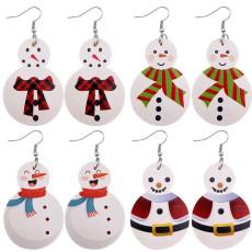 Рождественский снеговик Кожаные серьги
