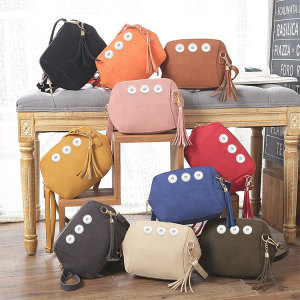 Fashionable and simple frosted simulation leather candy-colored tassel small shell bag with one-shoulder messenger bag  fit 18mm chunks