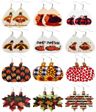Кожаные серьги с кленовым листом и тыквой на День Благодарения с индейкой