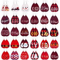 Рождество Снежинка Санта-Клаус Лось Рождественская елка Candy Leather Earrings