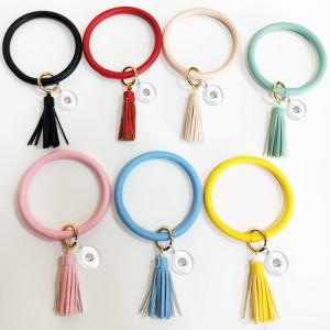 Bracelet PU leather tassel bracelet key chain bag pendant fit snaps chunks  Snaps Jewelry