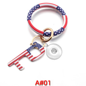 Bracelet Epidemic Prevention Keychain PU Leather Bracelet Non-contact Acrylic Keychain Door Opener fit snaps chunks  Snaps Jewelry