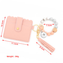 Silicone Bead Bracelet Card Case Leopard Print Silicone Bead Bracelet PU Tassel Ladies Wallet Keychain fit 18mm chunks