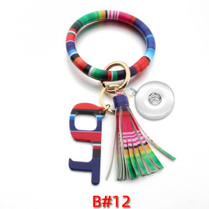 Tassel Bracelet Epidemic Prevention Keychain PU Leather Bracelet Non-contact Acrylic Keychain Door Opener fit snaps chunks  Snaps Jewelry