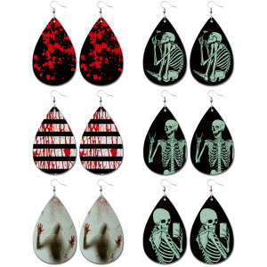 Pendientes de cuero fantasma calavera de Halloween