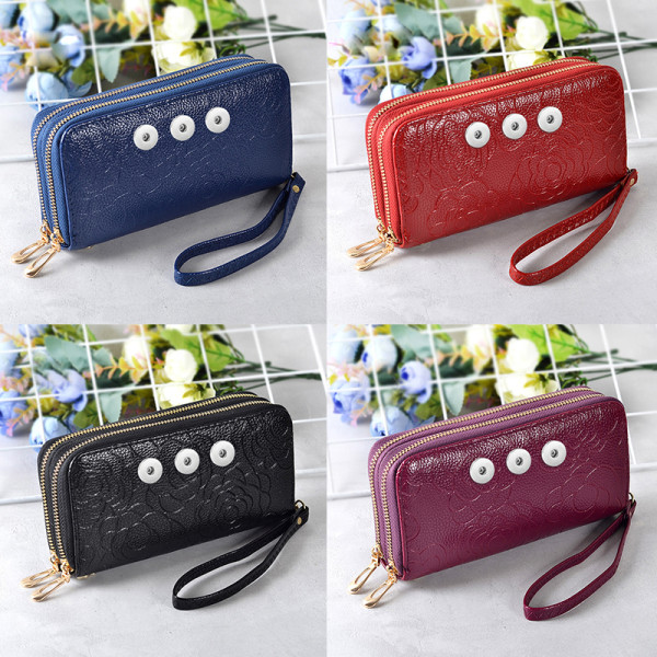 Pattern multicolor multilayer leather clutch fit 18mm chunks