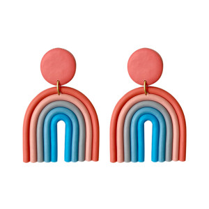 Pendientes de cerámica suave de color arcoíris pendientes geométricos de moda de temperamento en forma de U