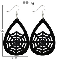 Halloween pumpkin skull ghost Bat spider Leather Earrings