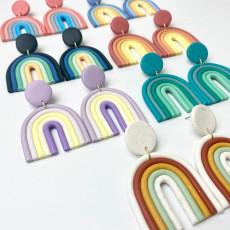 Мягкие керамические серьги цвета радуги геометрические U-образные модные серьги темперамента