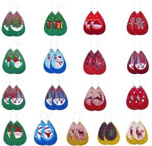 Double Christmas Christmas Tree Christmas Hat Elk Leather Earrings