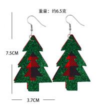 Double Christmas Tree Plaid  Leather Earrings