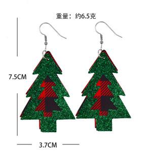 Doppelte Weihnachtsbaum-Plaid-Lederohrringe