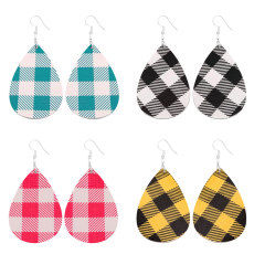 Plaid colorful Leather Earrings