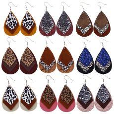 Double Leopard Print  Leather Earrings