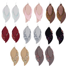 Double sequins  Leather Earrings