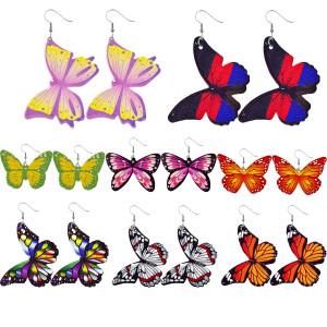 Schmetterlingsfarbene Lederohrringe