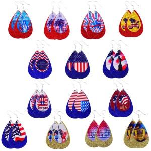 Doppelte Leder-Ohrringe mit Unabhängigkeitstag-Flagge