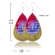 Double Independence Day Flag  Leather Earrings