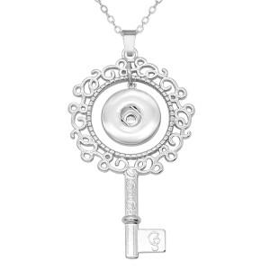 Schlüsselhalskette 80CM Kette Silber passen 20MM Brocken Druckknöpfe Schmuckhalskette für Frauen