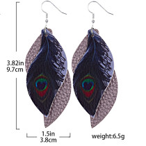 Double-leaf peacock feathers Leather Earrings