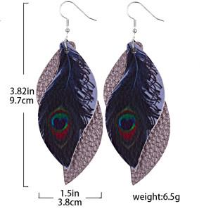 Doppelblättrige Pfauenfedern Lederohrringe