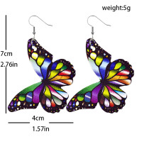 Butterfly color Leather Earrings