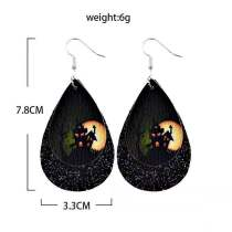 Double halloween pumpkin ghost bat Leather Earrings