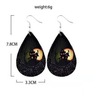 Doppelte Halloween Kürbis Geisterfledermaus Leder Ohrringe