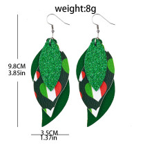 Double St. Patrick's Day green four-leaf clover  Leather Earrings