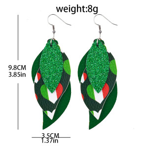 Doppelte St. Patrick's Day grüne vierblättrige Lederohrringe