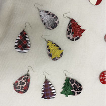 Double-layer Christmas tree sequined leopard print Leather Earrings
