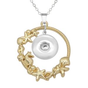 Muschel Seepferdchen Vogel Seestern Muschel Halskette 80CM Kette Silber passen 20MM Brocken Druckknöpfe Schmuck