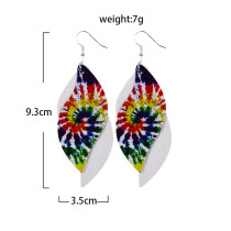Double-layer spiral tie-dye color Leather Earrings